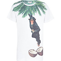 Boys white coconut monkey print t-shirt