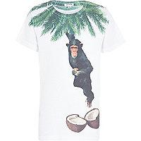 Boys white coconut monkey print t-shirt