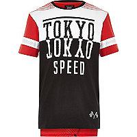 Boy black colour block Tokyo mesh t-shirt