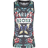 Boys black tropical Harlem print vest