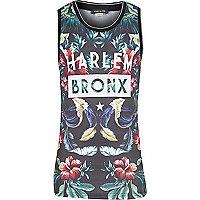 Boys black tropical Harlem print vest