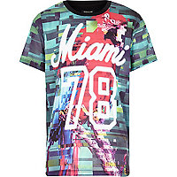 Boys black parrot Miami print t-shirt