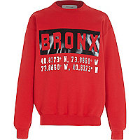 Boys red long sleeve Bronx print sweatshirt