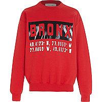 Boys red long sleeve Bronx print sweatshirt