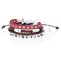Boys white just saying bracelet set