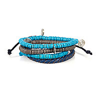 Boys blue beaded and pu bracelet set