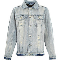 Boys light wash distressed denim jacket