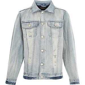 Kids light wash distressed denim jacket