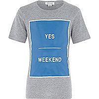 Boys grey weekend print short sleeve t-shirt