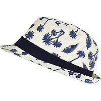 Boys cream palm tree print trilby hat