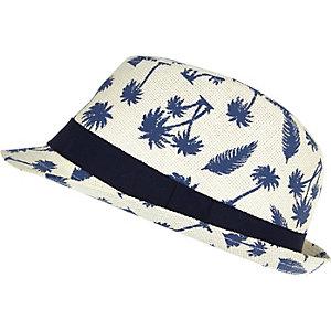 Boys cream palm tree print trilby hat