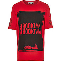 Boys red Brooklyn print short sleeve t-shirt