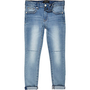 Boys light wash ripped Sid skinny jeans
