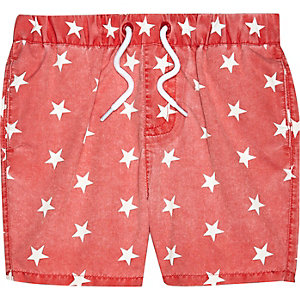 Mini boys red star print swim shorts