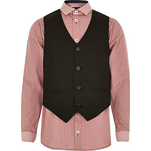 Boys red gingham shirt and waistcoat set