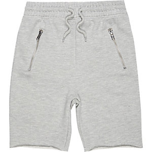 Boys grey marl drop crotch shorts