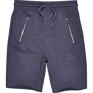 Boys navy marl drop crotch shorts