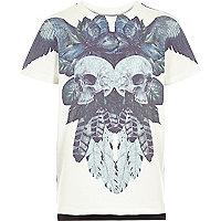 Boys ecru skull print t-shirt