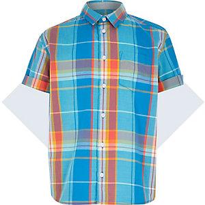Boys blue check short sleeve shirt