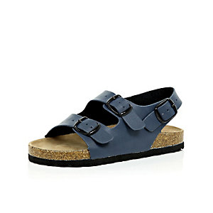 Boys blue double strap flat bed sandals