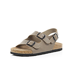 Boys brown double strap flat bed sandals