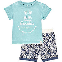 Mini boys blue paradise t-shirt shorts outfit
