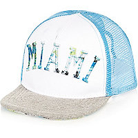 Mini boys blue Miami print mesh cap