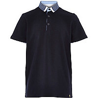 Boys navy smart contrast colour polo shirt