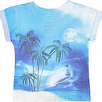 Mini boys blue paradise print t-shirt