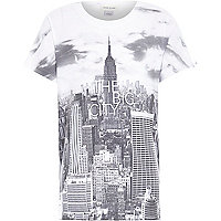 Boys white the big city print t-shirt