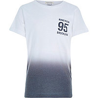 Boys white Brooklyn fade out t-shirt