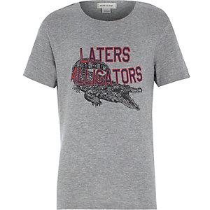 Boys grey later alligator print t-shirt