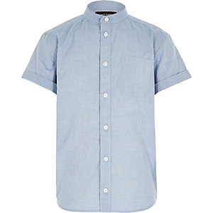 Boys blue chambray grandad shirt