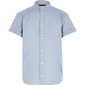 Boys blue chambray grandad shirt