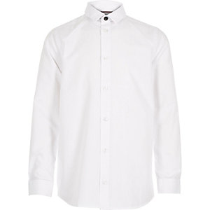 Boys white slimline collar shirt