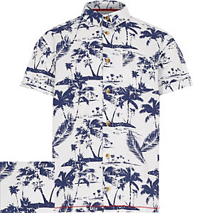 Boys white Hawaiian print short sleeve shirt