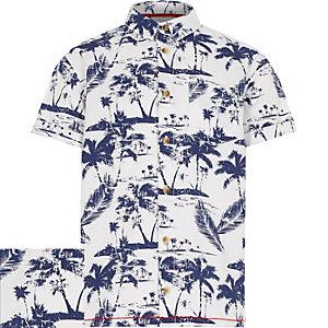 Boys white Hawaiian print short sleeve shirt