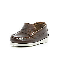 Mini boys brown smart loafers