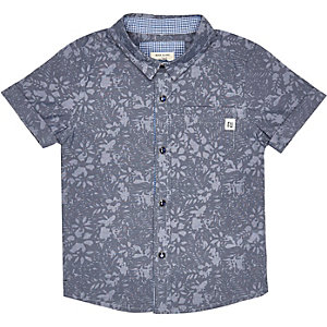 Mini boys blue print shirt