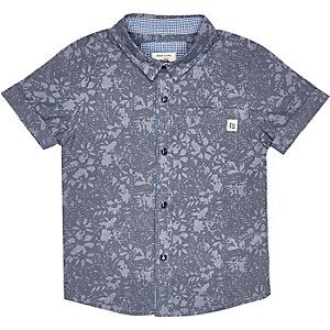 Mini boys blue print shirt