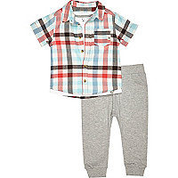 Mini boys white check shirt joggers outfit