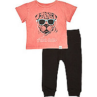 Mini boys orange t-shirt and joggers outfit