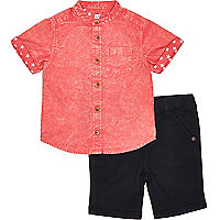 Mini boys red acid wash shirt shorts outfit