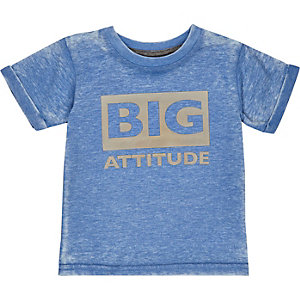 Mini boys blue big attitude t-shirt