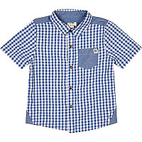 Mini boys blue gingham shirt
