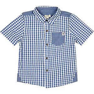 Mini boys blue gingham shirt