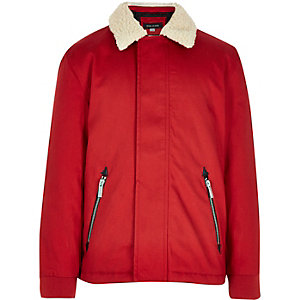 Boys red fleece collar coach jacket