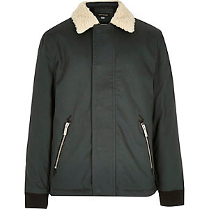Boys green borg collar coach jacket