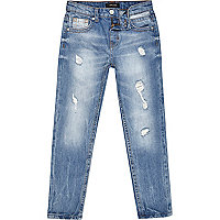 Boys mid wash ripped Dean straight jeans