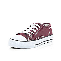 Boys burgundy lace up plimsolls